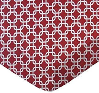 product image for SheetWorld 100% Cotton Percale Fitted Crib Toddler Sheet 28 x 52, Burgundy Links, Made in USA