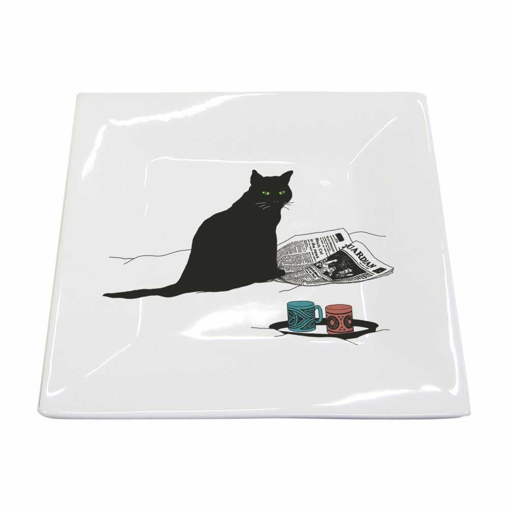 Paperproducts Design New Bone China Small Square Plate Featuring Black Cat Journal Design, 5.75 x 5.75