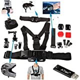 ATian 7 in 1 Accessory Kit Helmet strap+Velcro Belt+chest strap+Curved adhesive+J-hook and flat bases with sticker+Elastic wrist strap+Safety steel wire for Gopro 1/2/3/3+/4 Camera