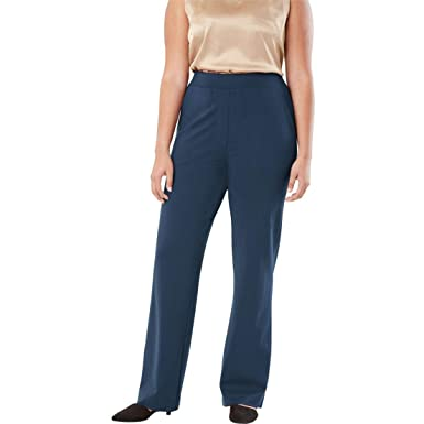 5e6292ca5c2c4 Jessica London Women s Plus Size Wide Leg Trousers in Ponte Knit at Amazon  Women s Clothing store
