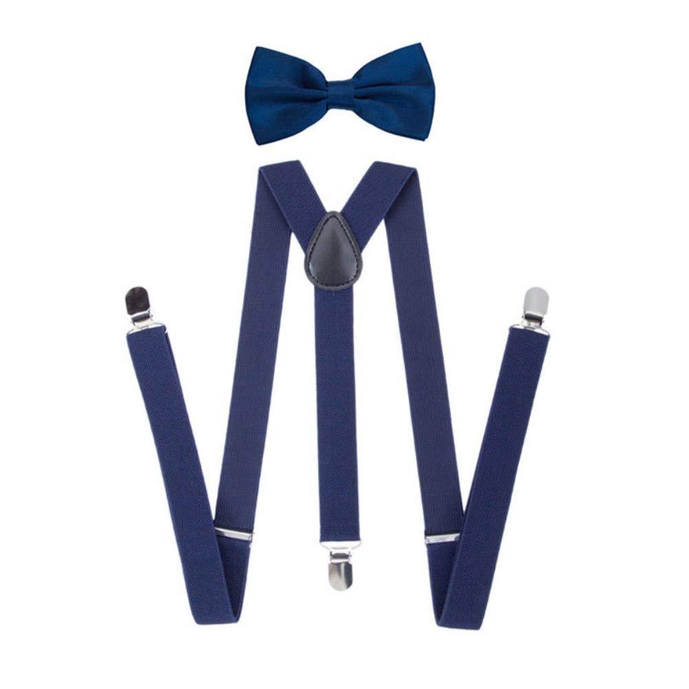 yanbirdfx Solid Color Unisex Clip-on Elastic Y-Shape Adjustable Suspenders Bowtie Set - Navy Blue