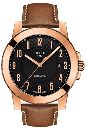 Tissot Gentleman Black Dial Automatic Mens Leather Watch T0984073605201