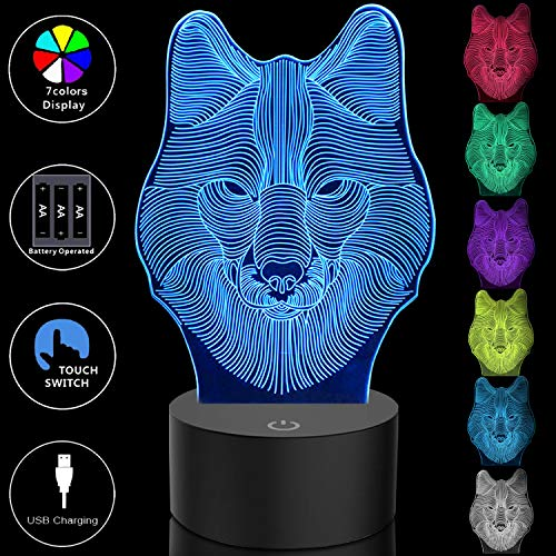3D Wolf Night Light Easter Gifts for Kids Teens Boys Room Decor, 3D LED Night Light Optical Illusion Lamp Touch Control 7 Colors Changing Table Desk Beside Lamp for Bedroom Decorations Birthday Gifts