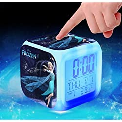 Frozen Princess Elsa Anna Olaf Alarm Clock with 7 Changing Colors Cute Cartoon LED Clock (Style 4)