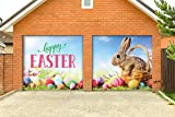 Victory Corps Happy Easter Bunny Basket - Holiday Garage Door Banner Mural Sign Décor 7'x 8' Split Car Garage - The Original Holiday Garage Door Banner Decor