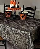 Heritage Lace Spider Web 60-Inch by 90-Inch Rectangle Tablecloth, Black