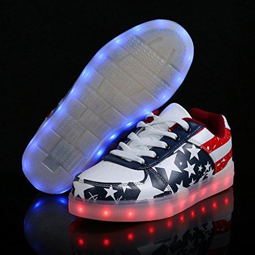 Shoes Women Sneakers Sport Luminous SAGUARO LED Unisex Flashing USB Charging American Red Flag Men 56av76z
