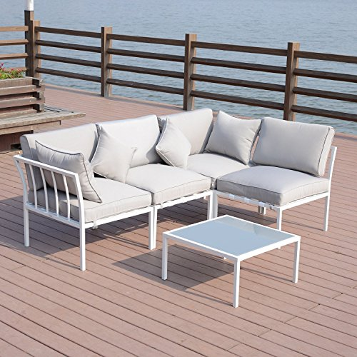 (Outsunny Cushioned 4-Piece Patio Conversation Set -)
