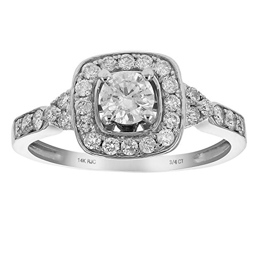 3/4 CT Diamond Halo 4-Prong Wedding Engagement Ring 14K White Gold in Size 7 ()