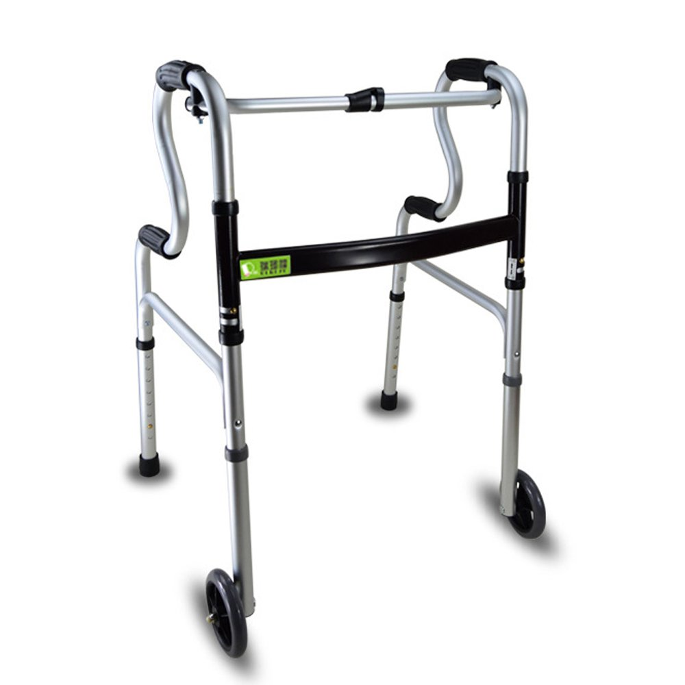 Active Authority Lightweight Aluminum Adjustable Folding Walker with Wheels, up to 385lbs, Silver