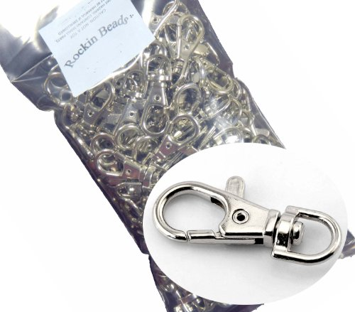 "Rockin Beads Brand, 20 Nickle Plated Lobster Claw Swivel Clasps for Key Ring 38x16mm(1 1/2""x5/8"")"