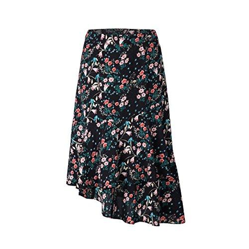 Tronjori Womens A Line Floral Print Skirt Flared Hem (XL,Black III)