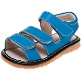 Little Blue Lamb - Squeaky Leather Toddler boys Shoes | Blue sandals 3 velcro