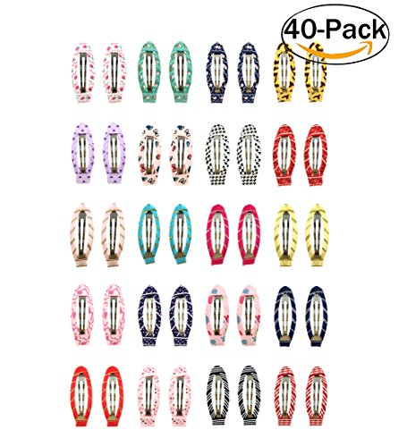 Ruyaa 2 Snap Clips No Slip Wrapped Hair Barrettes For Toddlers Girls Kids Women Hair Accessories 40pcs Assorted