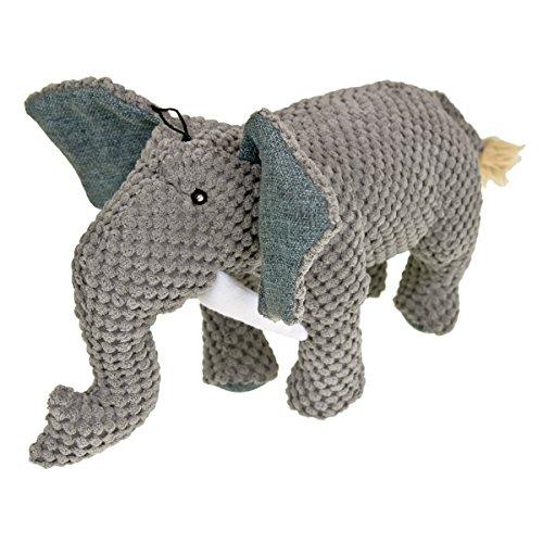 Blue Ribbon Grey Plushables Natra Buddies Elephant Dog Toy ()