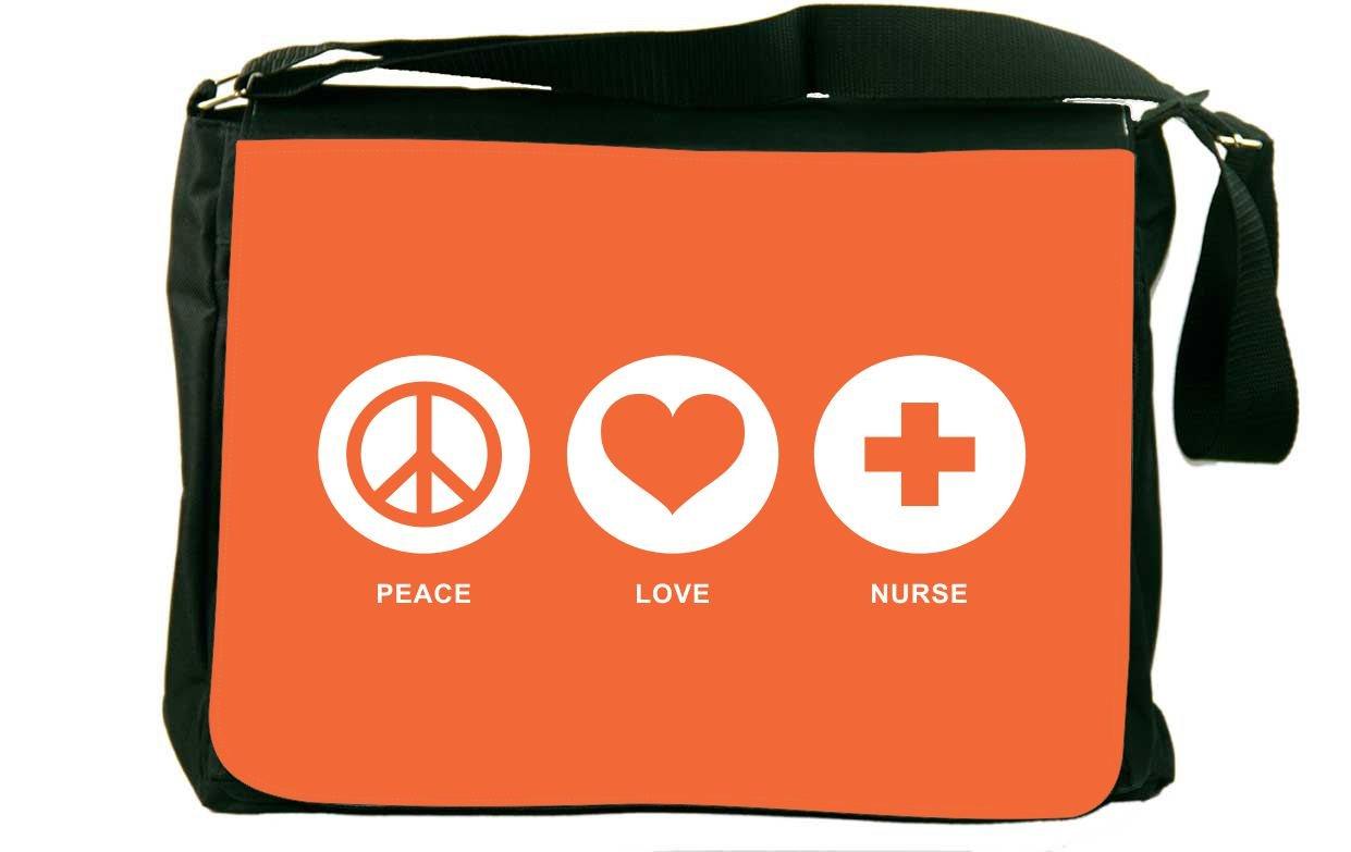 Rikki Knight Peace Love Nurse Orange Color Messenger Bag School Bag