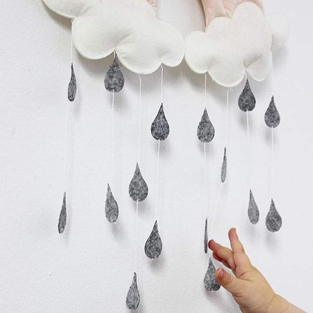 szyzl88 Crib Pendant Toy,Cloud Raindrop Fabric Baby Bedside Pendant Movable Photography Decorative Props Can Be Used For Crib Tent