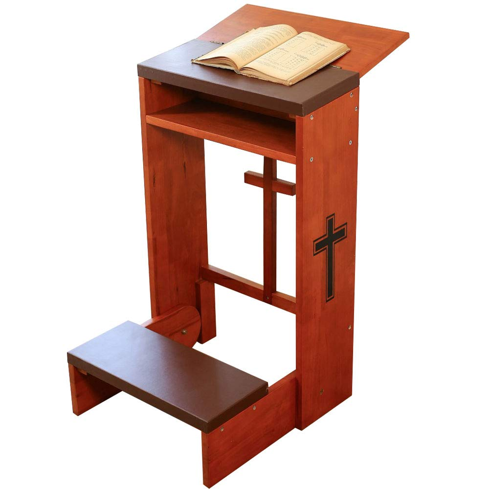DAPU Prayer's Kneeler with Folding Tabletop and Bench for Home,Wooden Kneeling Padded Chair/Stool & Table with Shelf & Cross & Kneeling Cushions