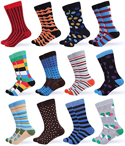 - Gallery Seven Mens Dress Socks - Funky Colorful Socks for Men - Symmetric Collection - 12 Pack - Size 10-13