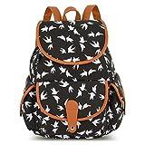 Vbiger Canvas Backpack for Women & Girls Boys Casual Book Bag Sports Daypack (Bird Black)