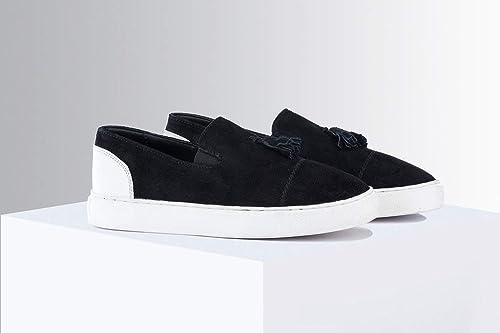 Buy THE ALTERNATE Black Suede Slip-Ons
