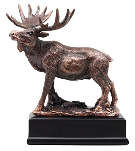(Ebros Gift The Emperor Bull Moose Statue Bronze Electroplated Figurine With Base Wildlife Elk Deer Family Decor)