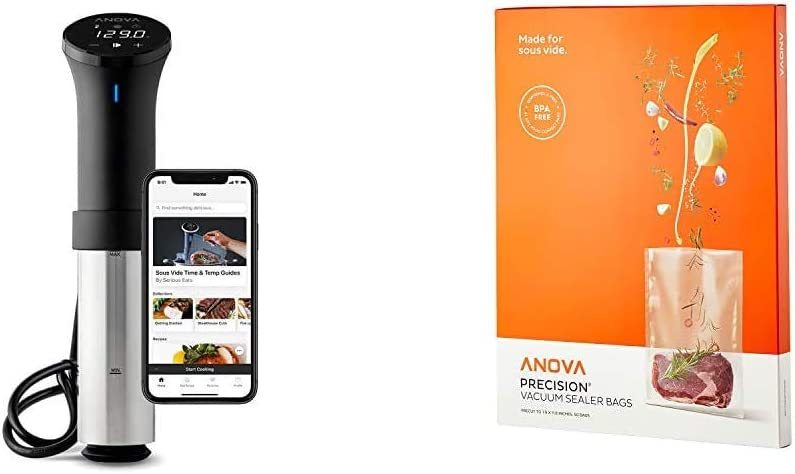 Anova Culinary AN500-US00 Sous Vide Precision Cooker (WiFi), 1000 Watts | Anova App Included, Black and Silver & Culinary Anova Pre-Cut Sous Vide Vacuum Sealer bags, One size, Clear,ANVB01