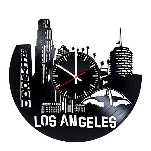 Welcome Dzen Store Los Angeles City Record Wall Clock - Get unique of living room wall decor - Gift ideas for youth – Los Angeles Travel Unique Art Design