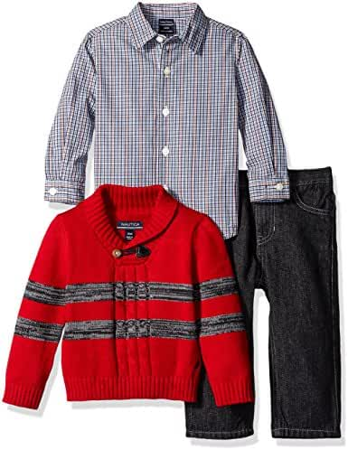 Nautica Baby Boys' Three Piece Set with Woven, Striped Shawl Sweater, Denim Jean