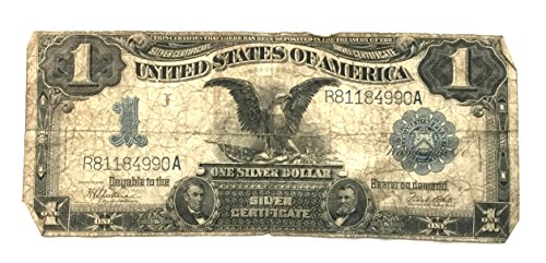 """19th Century Currency - 1899 19th Century United States of America """"Black Eagle"""" One Silver Dollar Certificate Blue Seal Note Serial # R81184990A 1 Good Details"""