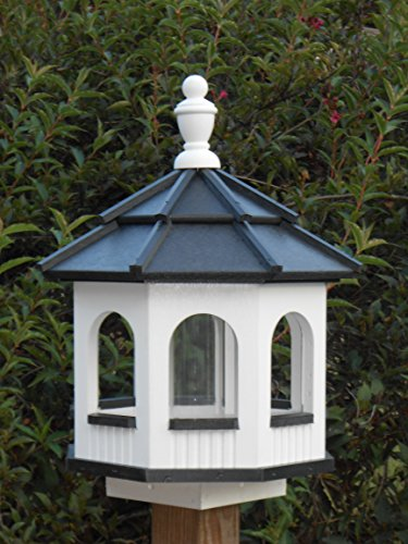 Vinyl Gazebo Bird Feeder Amish Homemade Handmade Handcrafted White & Black Medium (Gazebo Feeder)