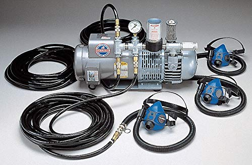 Supplied Air Pump Package, 1-1/2 HP, People Served: 3, Headgear Included: Half Mask - Air Supplied Pump Package
