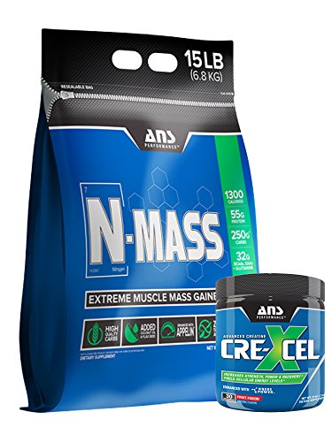 ANS Performance N-Mass Muscle Mass Gainer, Milk Chocolate, 15 Pounds W/Free 30/SERV Cre-Xcel