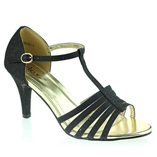 Mujer Señoras Punta Abierta T Bar Delgado Tacón Medio Noche Fiesta Boda Prom Sandalias Zapatos Talla Negro