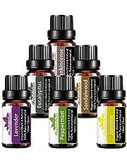 6-pack biologische etherische olie set, 6X 10 ml Mumianhua pure plantaardige aromatherapie etherische oliën voor diffuser,massage, oliebrander, parfum, thuiszorg