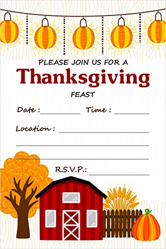 Friends Invitation Best (Thanksgiving Dinner Invitations & Brown Envelopes (Pack of 25) Welcome Family & Friends Share The Harvest Feast Large 6 x 4 inches Fill in Style Country Theme Turkey Day Meal Invites)