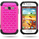 CoverON® Hybrid Dual Layer Diamond Case for Samsung Galaxy Ring / Prevail 2 - Rose Pink Hard Black Soft Silicone