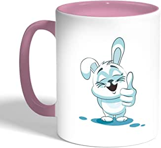 Printed Coffee Mug, Pink Color, Rabbit
