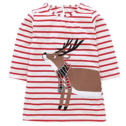 Toddler Kids Baby Girls Santa Claus Print Dress Long Sleeve Striped Skirt One-Piece Clothes Set (Deer, 5-6 -