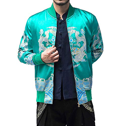 QBQCBB Men's Winter Jacket Stand Collar Retro Printed Zipper Baseball Coat(Green,XXXL) from QBQCBB