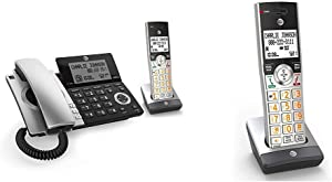 AT&T CL84107 DECT 6.0 Expandable Corded/Cordless Phone with Smart Call Blocker, Black/Silver with 1 Handset & CL80107 Accessory Cordless Handset, Silver/Black