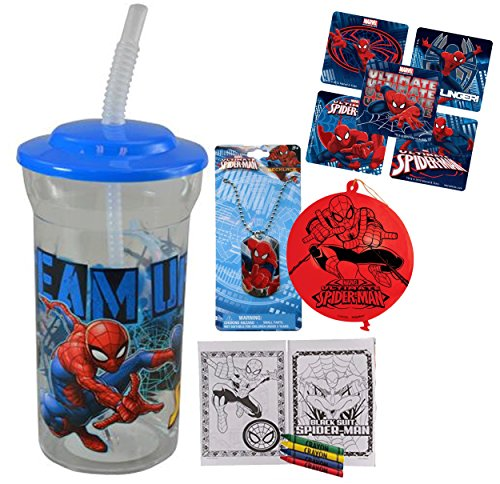 Marvel Spider-Man Fun Sip Favor Cup! Valentines Gift, Easter Basket Filler, Stocking Stuffer or Party Favor! Pre-Filled & Ready For Giving! Includes Keepsake Tumbler, Stickers & Favors! for $<!--$9.95-->