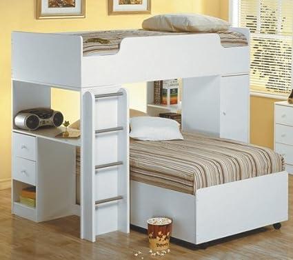 Amazon.com: White Finish Wood Loft Bunk Bed Children\'s ...