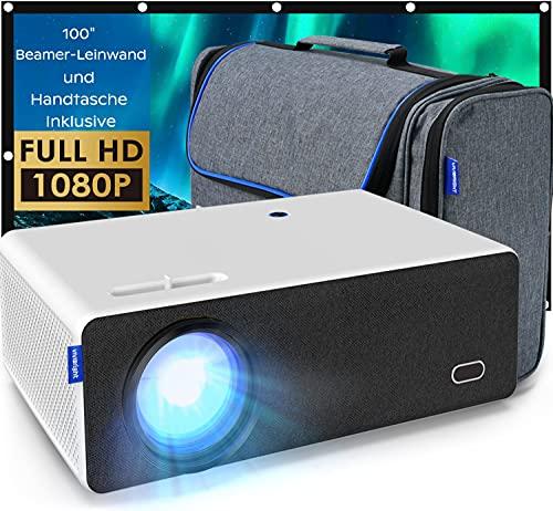 Beamer Full HD, VIVIBRIGHT LED Projektor 8000LUX Native 1920x1080P Heimkino Video Beamer Unterstützung 4K, Beamer Outdoor mit Beamer Leinwand und Handtasche Kompatibel mit Fire TV Stick/HDMI/VGA/USB