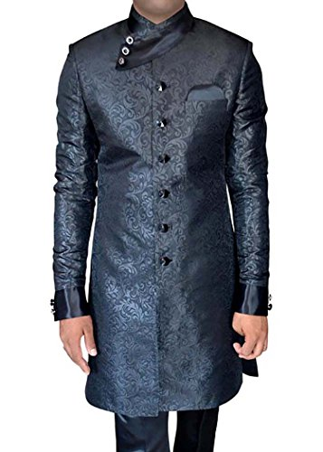 INMONARCH Mens Black Polyester 3 Pc Indo Western Anagrakha Style IN287S54 54 Short Black by INMONARCH