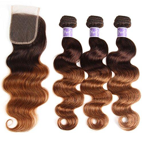 2 Tone Ombre Hair 3 Bundles With Closure Brazilian Virgin Hair Body Wave Human Hair Extensions T4/30 Medium Brown/Medium Auburn (18 20 22+16)