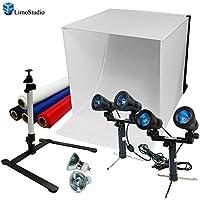 LimoStudio 24 Table Top Photography Studio Light Tent Kit in a Box - Photo Tent, 2x Double Head Light Set, Mini Camera Stand, 2x GU10 Light Bulbs, AGG903