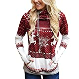 Casual Pullover Hoodie for Womens Ugly Christmas Reindeer Snowflake Long Sleeve Hooded Sweatshirt Jumpers (XL, Red)