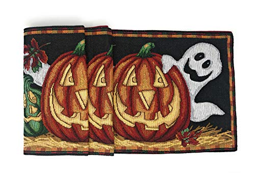 (DaDa Bedding Halloween Pumpkins Table Runner - Harvest Orange Jack-o'-Lantern Ghosts Tapestry - Cotton Linen Woven Dining Mats (12914))