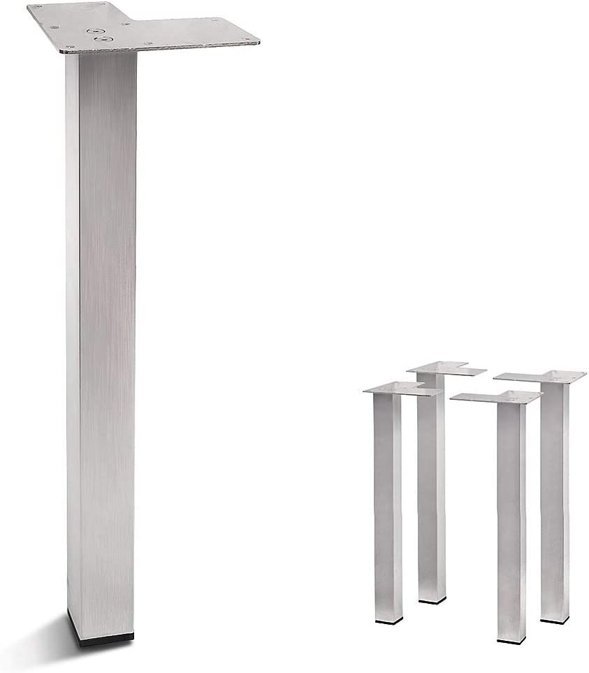 Stainless Steel Metal Sofa Legs, Furniture Legs, Square Tube, Straight Design - Set of 4 New (16